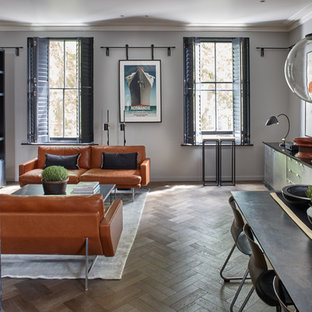 Design ideas for a medium sized modern living room in London with grey walls and medium hardwood flooring.
