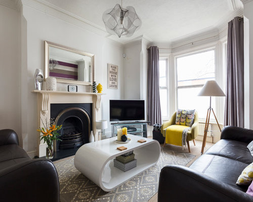 Design Ideas For A Classic Living Room In London With A Standard Fireplace  And A Freestanding