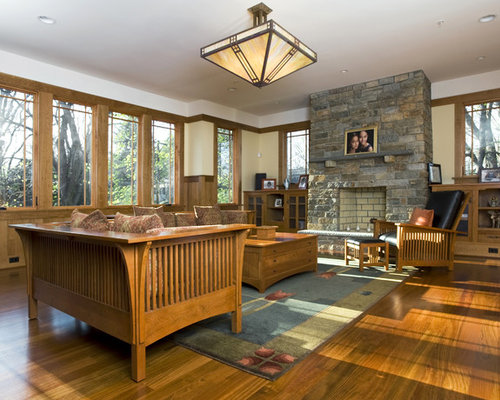 Example Of An Arts And Crafts Medium Tone Wood Floor Family Room Design In  Seattle With