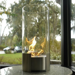 "Bluworld - Nu-Flame Tabletop Caldo Ethanol Fireplace - This is certain to be your favorite center piece. Standing over 20"" tall this impressive portable tabletop fireplace features a brushed stainless steel base and stunning tempered glass cylinder encasing the flames. Caldo tabletop bio-fireplace is easily moved from room to room when not in use and may be used indoors or out, however do not leave your fireplace outside exposed to the elements after use. Ships with snuffer.  Fuel not included, we recommend using Nu-Flame Bio-Ethanol Fuel."