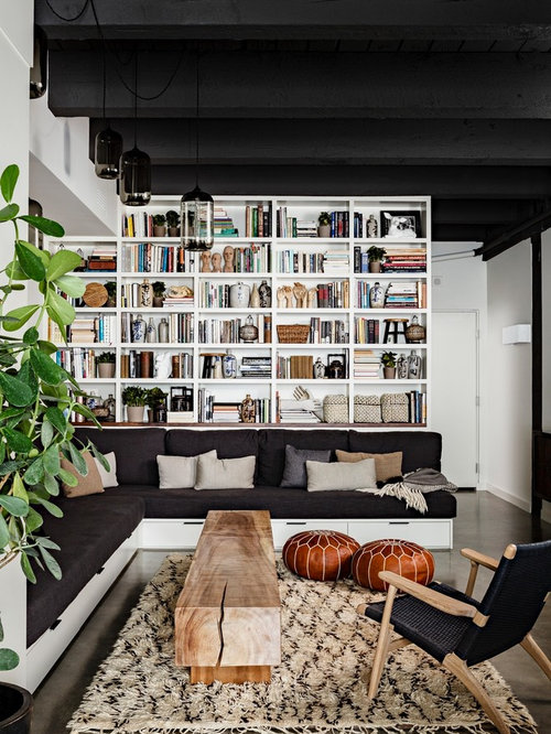 industrial living room design. Example of an urban concrete floor living room library design in Portland 25 Best Industrial Living Room Ideas  Remodeling Photos Houzz