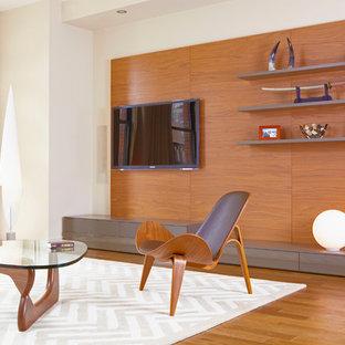 Ispirazione per un soggiorno moderno con TV a parete