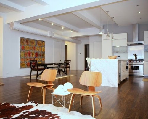 Inspiration For A Contemporary Open Concept Dark Wood Floor Living Room  Remodel In New York
