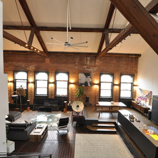 Medium sized industrial mezzanine living room in New York with brown walls, dark hardwood flooring, no fireplace and brown floors.
