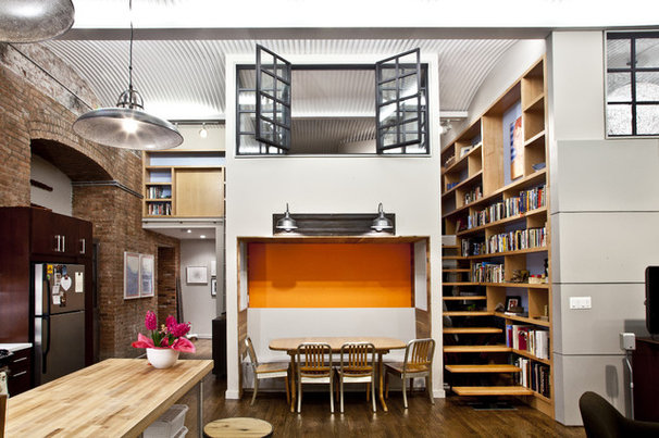 Industrial Living Room by Design42 Architecture, LLC