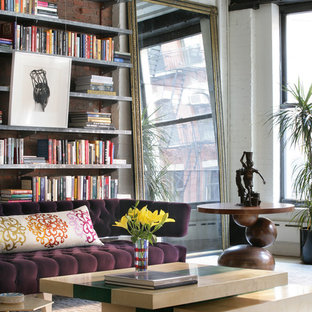 Inspiration for a contemporary open concept living room library remodel in New York with white walls