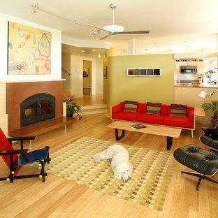 Esempio di un soggiorno minimalista con parquet chiaro e camino classico
