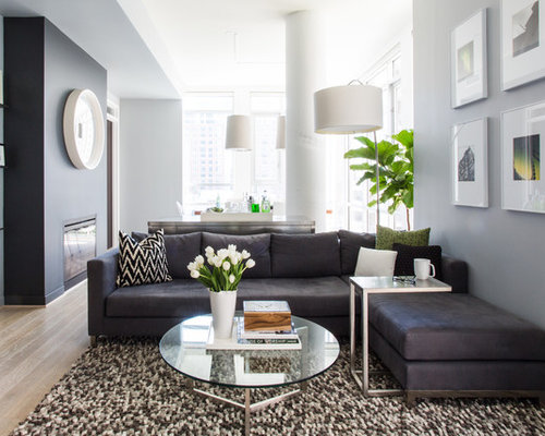 Inspiration For A Contemporary Open Concept Living Room Remodel In DC Metro With Ribbon Fireplace