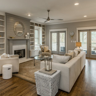 Inspiration for a medium sized classic formal open plan living room in Nashville with grey walls, medium hardwood flooring, a standard fireplace and no tv.