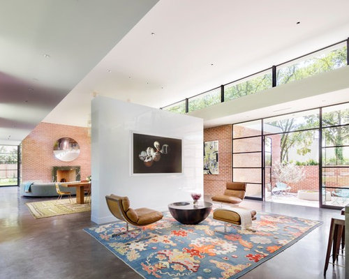 Midcentury Open Concept Living Room Design Ideas Remodels