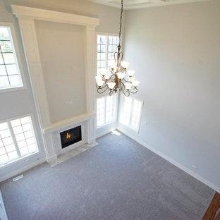 Ispirazione per un soggiorno chic stile loft con pareti grigie, moquette, camino classico, cornice del camino in pietra e pavimento rosa