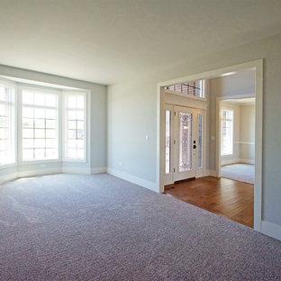 Ispirazione per un soggiorno tradizionale di medie dimensioni e chiuso con pareti blu, moquette e pavimento rosa