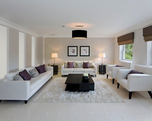 Lovely Mid Sized Contemporary Enclosed And Formal Porcelain Floor Living Room Idea  In Other With Beige Part 20