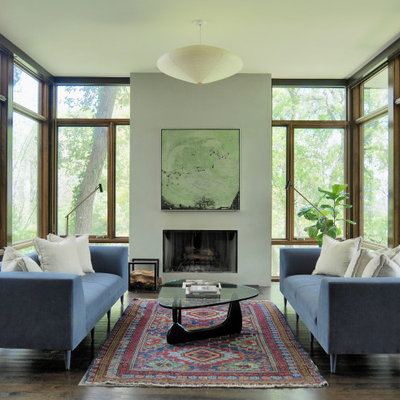 Inspiration for a contemporary dark wood floor and brown floor living room remodel in Austin with white walls and a standard fireplace