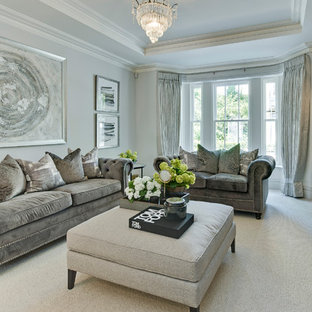 Design ideas for a large classic living room in Surrey with grey walls, carpet, grey floors and no tv.