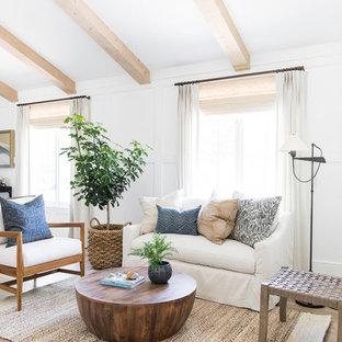 Modelo de salón abierto, marinero, pequeño, con paredes blancas y suelo de madera clara