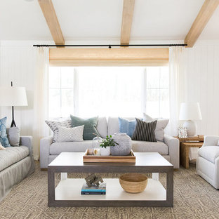 Inspiration for a mid-sized coastal open concept and formal living room remodel in Salt Lake City with white walls