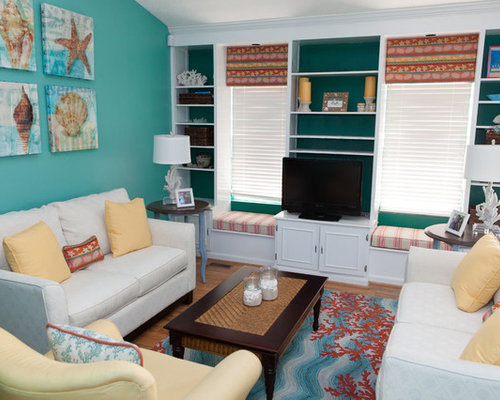 Teal and coral houzz for Coral teal and brown living room