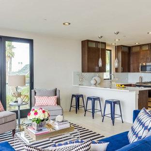 サンディエゴの中サイズのビーチスタイルのおしゃれなLDK (白い壁、磁器タイルの床、白い床、据え置き型テレビ) の写真