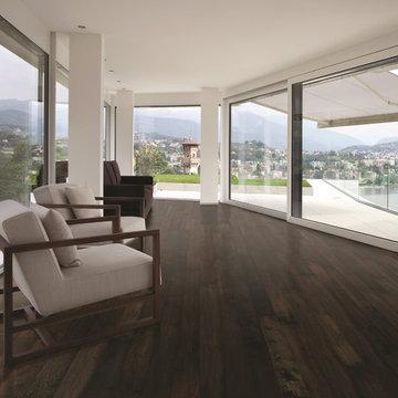 Ocean View Living Room With Dark Chocolate Wood Floor