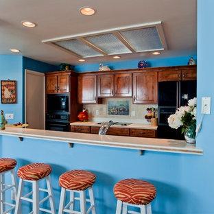Ispirazione per un soggiorno tropicale di medie dimensioni e aperto con pareti blu, pavimento in terracotta, camino classico, cornice del camino in legno e parete attrezzata