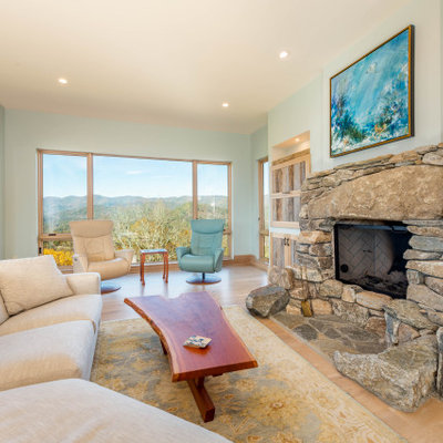 Inspiration for a contemporary open concept light wood floor and beige floor living room remodel in Other with blue walls, a standard fireplace and a stone fireplace