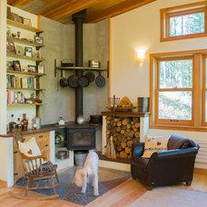Rustic Living Room by Alexandra Immel Residential Design LLC