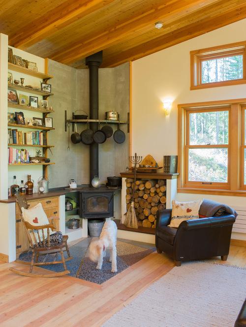 SaveEmail - Brick Wood Stove Surround Ideas Houzz