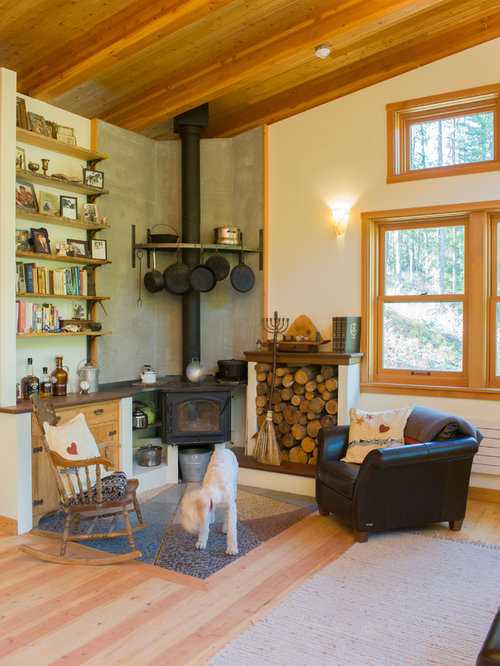 Corner wood burning stove houzz for Living room with wood burning stove