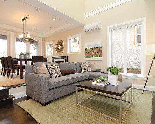 Contemporary Open Concept Living Room Idea In Vancouver With Beige Walls