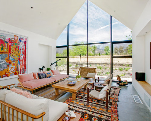 Example Of A Country Concrete Floor And Gray Floor Living Room Design In  Los Angeles With Part 94