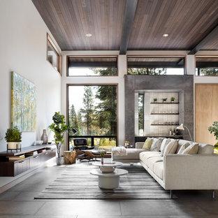 Ejemplo de salón con barra de bar abierto, moderno, grande, con paredes blancas, suelo de baldosas de porcelana, chimenea lineal y marco de chimenea de hormigón