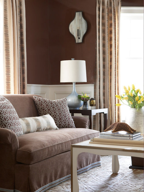 Example Of A Coastal Living Room Design In New York With Brown Walls