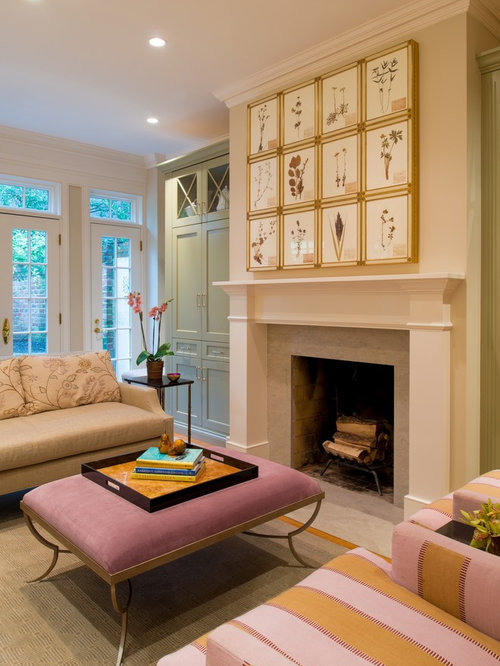 Example Of A Classic Living Room Design In DC Metro With Beige Walls And A  Standard Part 45