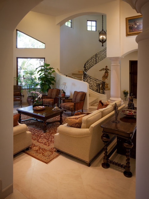 Spanish Living Room Design. Living room  huge mediterranean formal and open concept living idea in Los Angeles with Spanish Room Houzz