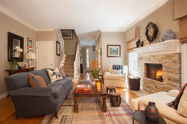 Transitional Living Room by Linda Rosen Interiors