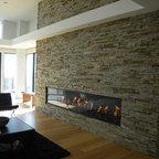 Stone Veneer Fireplace amp TV Niche Contemporary Family