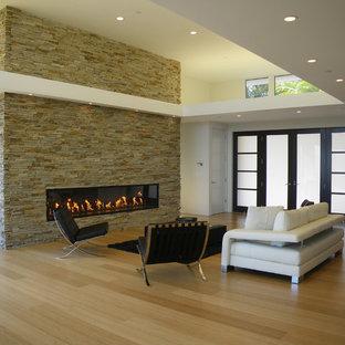 サンフランシスコのモダンスタイルのおしゃれなリビング (横長型暖炉、石材の暖炉まわり、竹フローリング) の写真