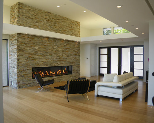 Modern Bamboo Floor Living Room Idea In San Francisco With A Ribbon  Fireplace And A Stone