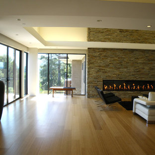 Minimalist bamboo floor living room photo in San Francisco