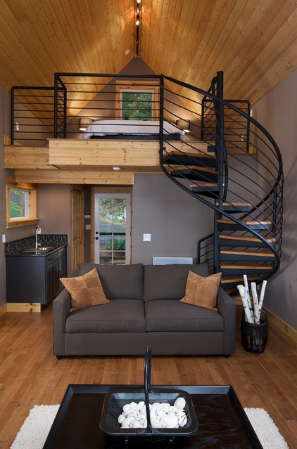 Transitional Living Room Olympia Eld Inlet Cabin Remodel and Studio Addition