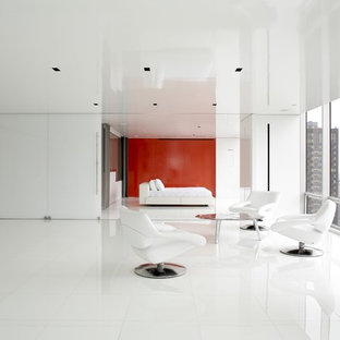 Example of a trendy white floor living room design in New York with white walls