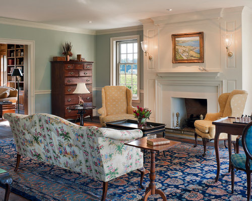 Example Of A Large Country Formal And Enclosed Dark Wood Floor Living Room Design In Philadelphia