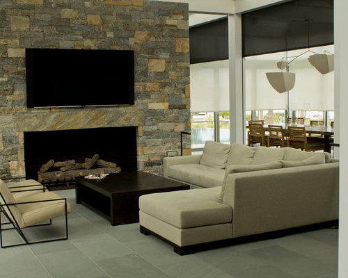 Photo Of A Mid Sized Contemporary Open Concept Living Room In Baltimore With Stone