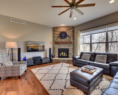 196 Craftsman Living Room With A Corner Fireplace Design