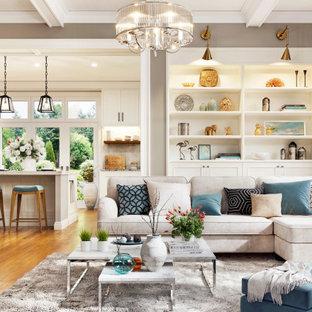 Idee per un ampio soggiorno stile shabby aperto