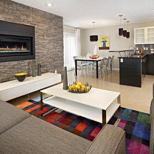Immagine di un soggiorno american style di medie dimensioni e aperto con sala formale, pavimento in sughero, camino classico e cornice del camino in pietra