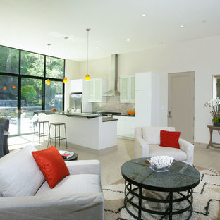 Small trendy open concept porcelain floor living room photo in San Francisco with white walls