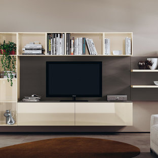 Inspiration for a small modern open plan living room in Melbourne with brown walls and a freestanding tv.