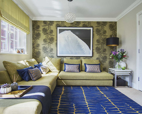 Medium Sized Contemporary Formal Open Plan Living Room In Hampshire With  Beige Walls, Carpet,